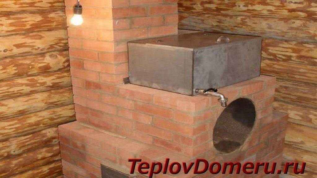 Кирпичный дымоход с водонагревательным баком