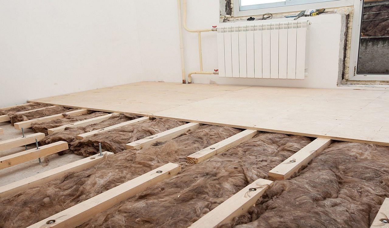 Утепление бетонного пола по лагам в квартире
